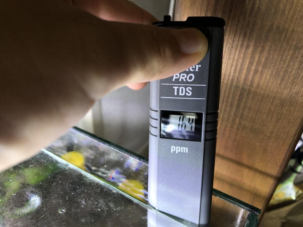 TDS計で水槽の数値を測る